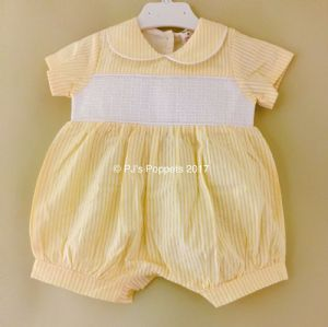 Baby Boys Smocked Romper Spanish Style Yellow White Seersucker 0 3
